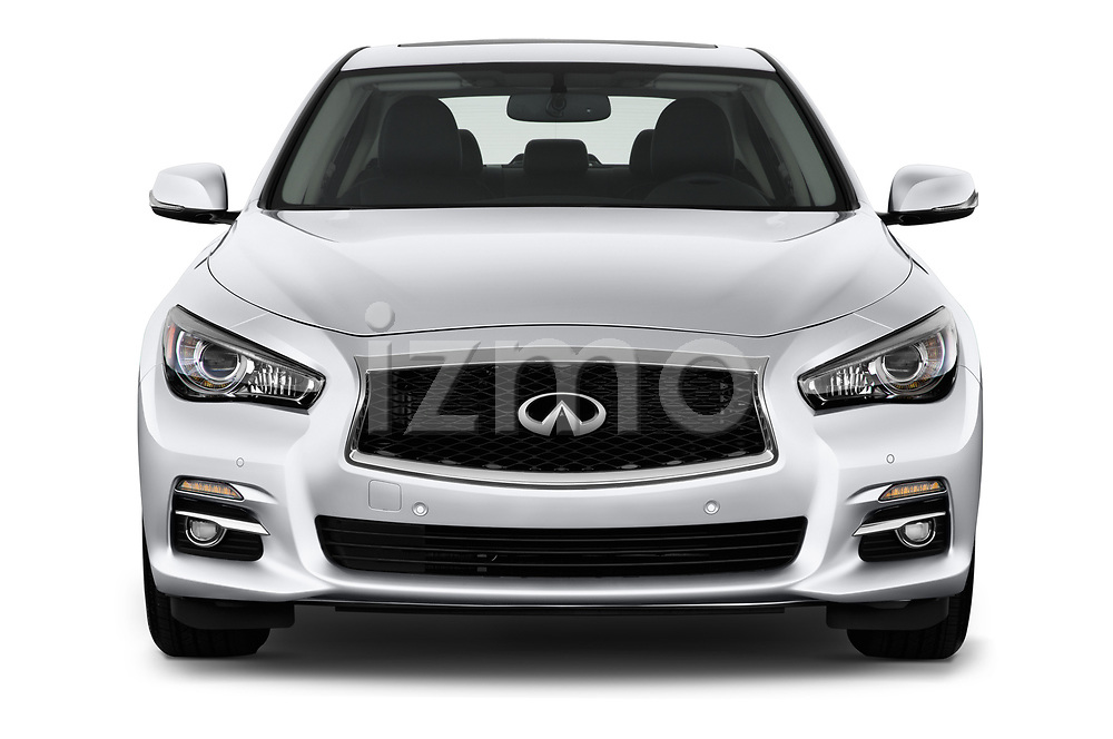 Car photography straight front view of a 2017 Infiniti Q50 Hybrid-Premium 4 Door Sedan Front View