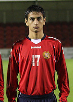 Andranik Kocharyan in the Armenia v Switzerland UEFA European Under-19 Championship Qualifying Round match at New Douglas Park, Hamilton on 11.10.12.