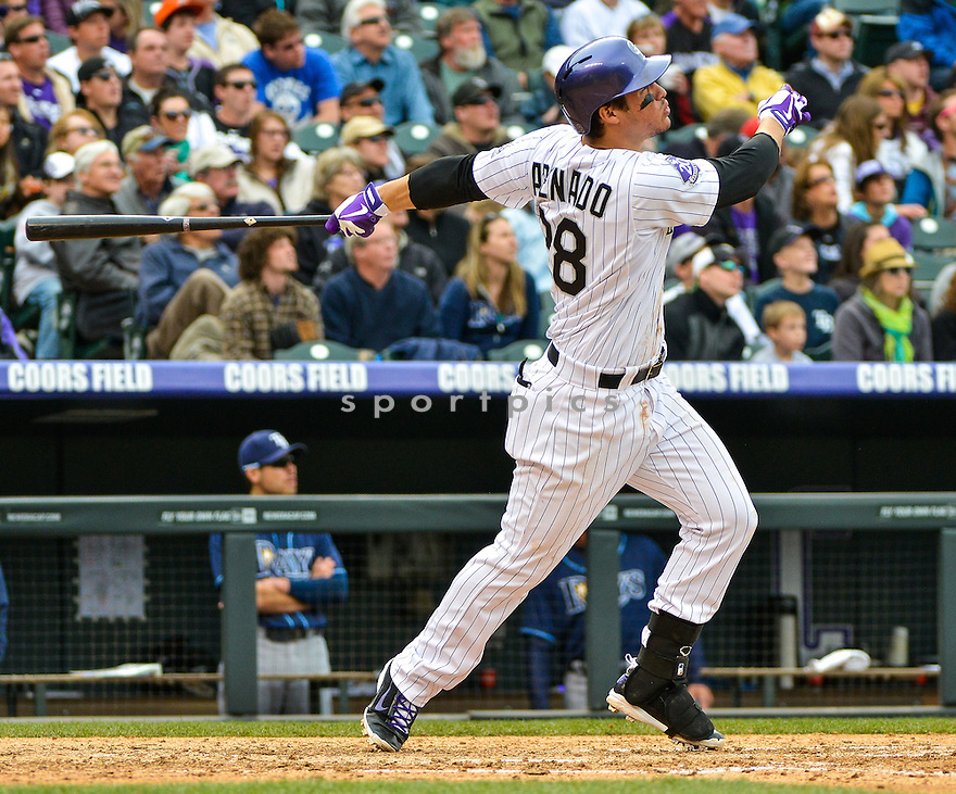 Colorado Rockies Nolan Arenado (28) during a game against the Tampa Bay Rays on May 5, 2013 at Coors Field in Denver, CO. The Rays beat the Rockies 8-3..