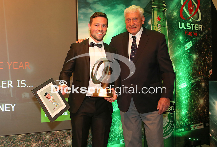 Thursday 10th May 2018 | Ulster Rugby Awards 2018<br /> <br /> Willie John McBride, President of the Ulster Rugby Supporters Club presents the Ulster Rugby Supporters Club&rsquo;s Outstanding Player of the Year Award to John Cooney, during the 2018 Heineken Ulster Rugby Awards at La Mom Hotel, Belfast. Photo by John Dickson / DICKSONDIGITAL