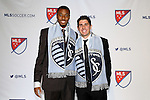 15 January 2015: Sporting Kansas City tenth overall draft pick Connor Hallisey (California) (right) and twelth overall draft pick Saad Abdul-Salaam (Akron). The 2015 MLS SuperDraft was held at the Pennsylvania Convention Center in Philadelphia, Pennsylvania.