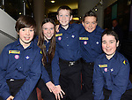 Shane McAllister, Ellen Taaffe, Jack Taaffe, Adam Rafferty and Paddy O'Brien pictured at the 1st Group Investiture of Beavers, Cubs, Scouts & Scouters into new 22nd Meath Scout Group at Brú na Bóinne Donore. Photo: Colin Bell/pressphotos.ie