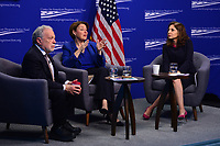 Washington, DC - March 5, 2019: U.S. Senator Amy Klobuchar participates in a discussion with former U.S. Labor Secretary Robert Reich about the affects of economic power at the Center for American Progress in Washington, D.C. March 5, 2019. The discussion was moderated by Neera Tanden, CEO, CAP.  (Photo by Don Baxter/Media Images International)