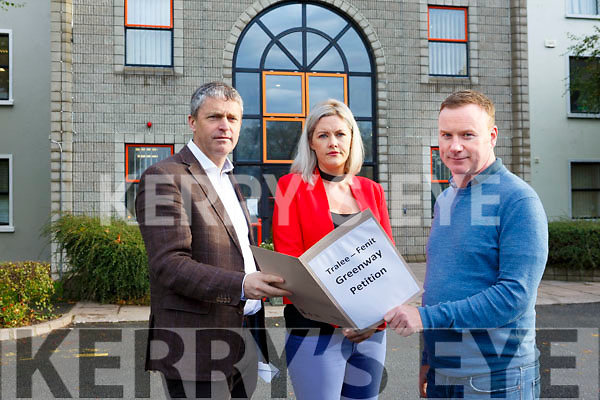 A petition for the Tralee-Fenit Greenway is being handed into Kerry County on Monday by Brian Stephenson here meeting with Cllr Pa Daly and Cllr Toiréasa Ferri