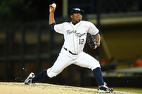 Lakeland Flying Tigers pitcher Angel Nesbitt (12) during a game against the Tampa Yankees on April 5, 2014 at Joker Marchant Stadium in Lakeland, Florida.  Lakeland defeated Tampa 3-0.  (Mike Janes/Four Seam Images)