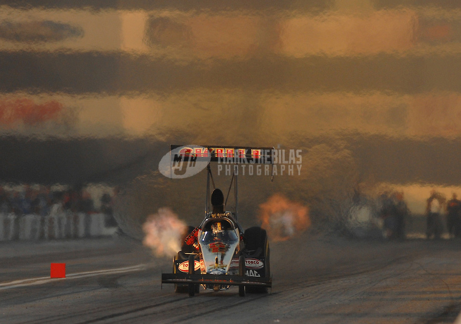 Nov 3, 2007; Pomona, CA, USA; NHRA top fuel dragster driver J.R. Todd during qualifying for the Auto Club Finals at Auto Club Raceway at Pomona. Mandatory Credit: Mark J. Rebilas-US PRESSWIRE