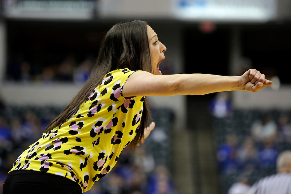 Penn head coach Kristi Kaniewski UIrich yells to her players during the IHSAA Class 4A Girls Basketball State Championship Game on Saturday, Feb. 27, 2016, at Bankers Life Fieldhouse in Indianapolis.