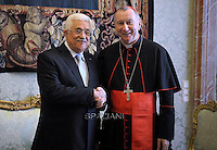 Cardinal Pietro Parolin. during a meeting Palestinian authority President Mahmud Abbas   on May 16, 2015 in Vatican.