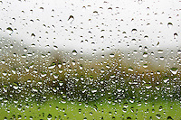 Stock photo: Beautiful rain drops on the window pane of car, car glass.