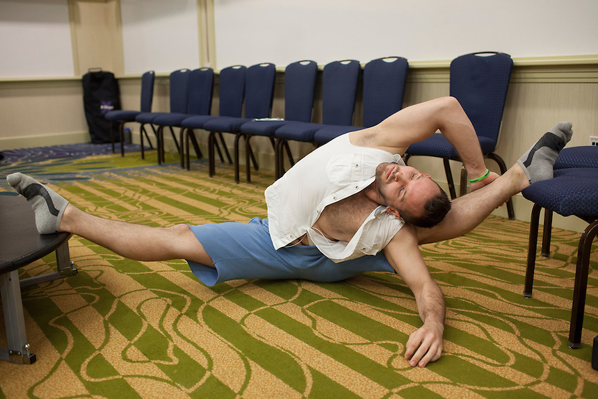 Oliver Pavik of New York City stretches before his competition at the 2014 Atlantic Pole Championships in Herndon, Va. on April 12, 2014. CREDIT: Lance Rosenfield/Prime for The Washington Post