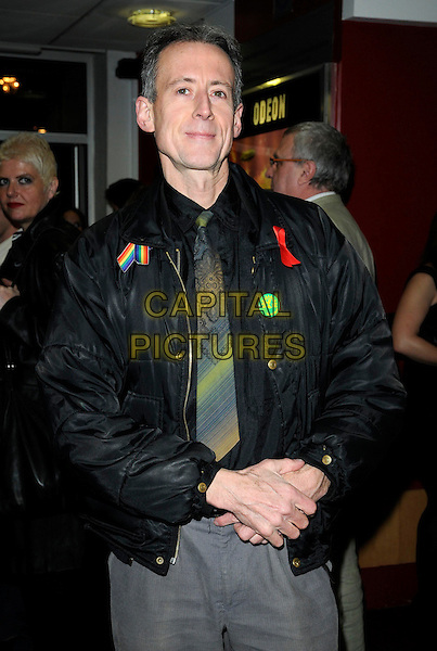 "PETER TATCHELL.""The Secret Diaries of Miss Anne Lister"" gala screening, Odeon West End cinema, London, England..March 17th, 2010.half length black jacket red ribbon green party badge button rainbow.CAP/CAN.©Can Nguyen/Capital Pictures."