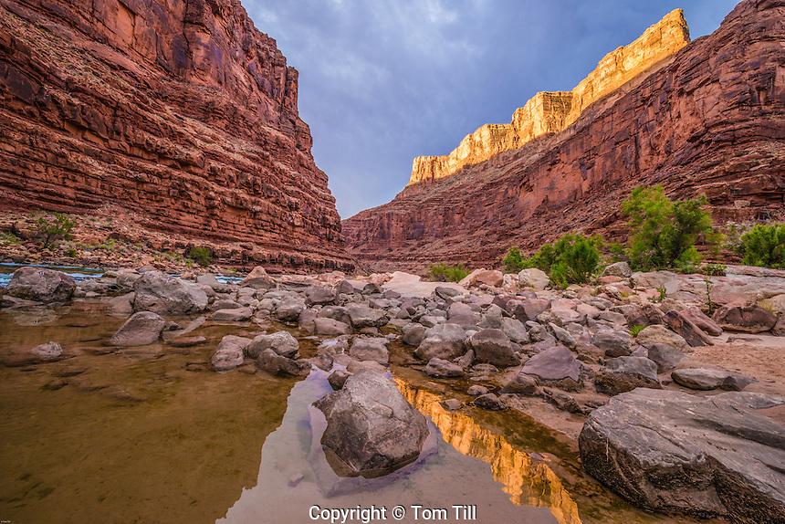 Reflection at North Canyon mouth, Grand Canyon National Park, Arizona, sunrise, Marble Canyon