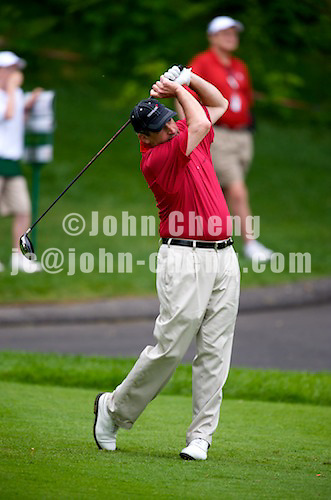 06/24/09 - Photo by John Cheng for Newsport. Pro-AM participant tees off at the Travelers Championship at the TPC River Highlands in Cromewll Connecticut.