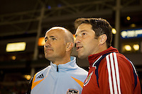 Head coaches of Houston Dynamo Dominic Kennear (l) and Chivas USA Preki (r). The Houston Dynamo and Chivas USA played to a 1-1 tie at Home Depot Center stadium in Carson, California on Saturday October 25, 2008. Photo by Michael Janosz/isiphotos.com