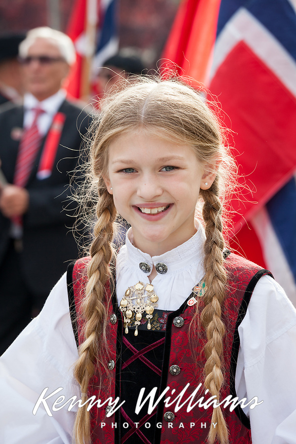 Beautiful girl wearing traditional Norwegian clothing, 17th of May Festival 2016, Ballard, Seattle, WA, USA.
