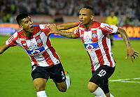 BARRANQUILLA - COLOMBIA - 08 - 11 - 2017: Jarlan Barrera (Der.), jugador de Atletico Junior celebra el gol anotado a Deportivo Independiente Medellin, durante partido de vuelta entre Atletico Junior y Deportivo Independiente Medellin, por la final de la Copa Aguila 2017, jugado en el estadio Metropolitano Roberto Melendez de la ciudad de Barranquilla. / Jarlan Barrera (R), player of Atletico Junior celebrates a scored goal to Deportivo Independiente Medellin, during a match for the second leg between Atletico Junior and Deportivo Independiente Medellin, for the final of the Copa Aguila 2017 at the Metropolitano Roberto Melendez Stadium in Barranquilla city, Photo: VizzorImage  / Alfonso Cervantes / Cont.