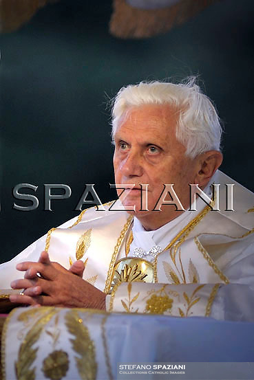 Pope Benedict XVI  during a Corpus Domini procession between the basilicas San Giovanni in Laterano and Santa Maria Maggiore on June 11, 2009 in Rome