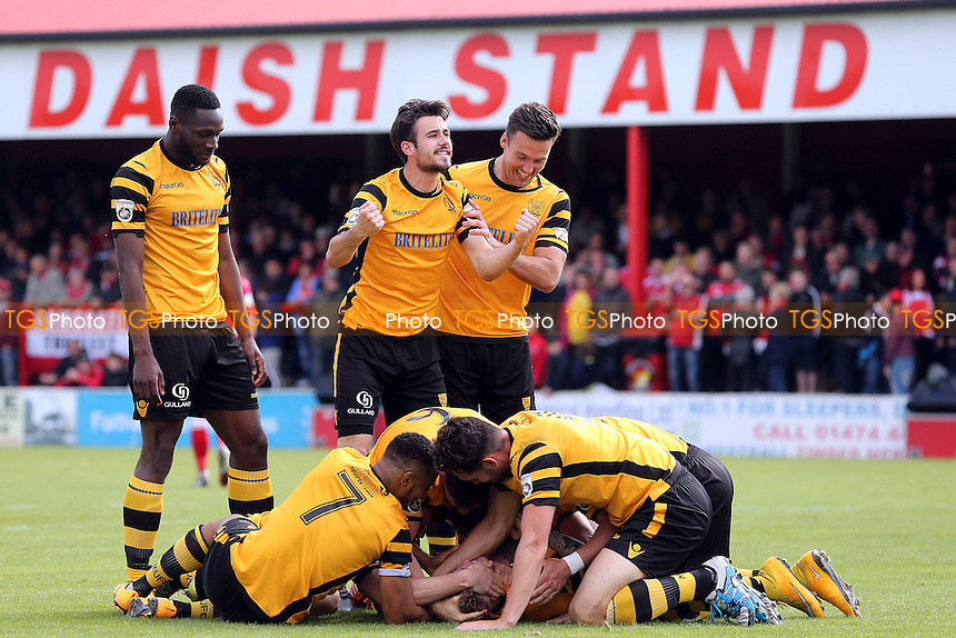 Bobby-Joe Taylor of Maidstone United is congratulated after scoring the opening Stones goal during Ebbsfleet United vs Maidstone United , Vanarama National League South Play-Off Final Football at The PHB Stadium on 14th May 2016