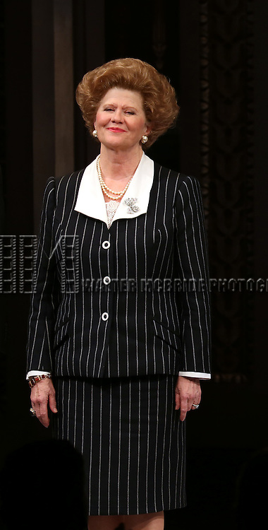 Judith Ivey takes a bow during curtain call for the Broadway Opening night of 'The Audience' at the Gerald Schoenfeld Theatre on March 8, 2015 in New York City.
