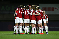 Arsenal players huddle during Arsenal Women vs Bristol City Women, FA Women's Super League Football at Meadow Park on 14th March 2019