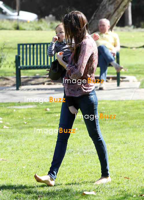 Miranda Kerr carries her adorable two-year-old son Flynn through Coldwater Canyon Park in Beverly Hills..Los Angeles, February 17, 2013..