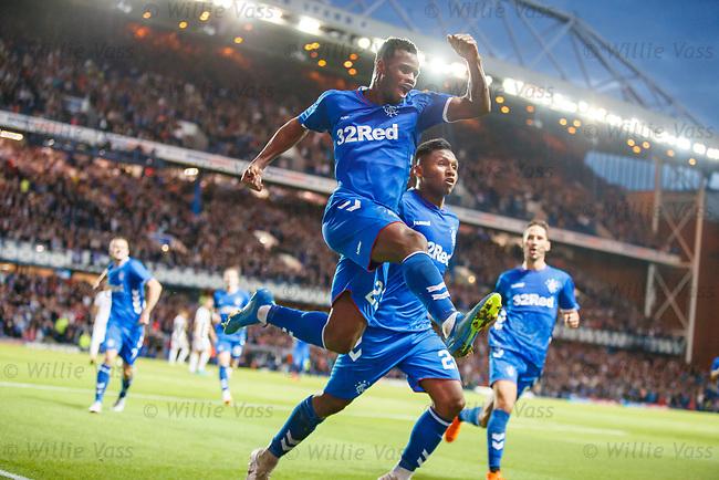 09.08.18 Rangers v Maribor: Lassana Coulibaly celebrates with Alfredo Morelos