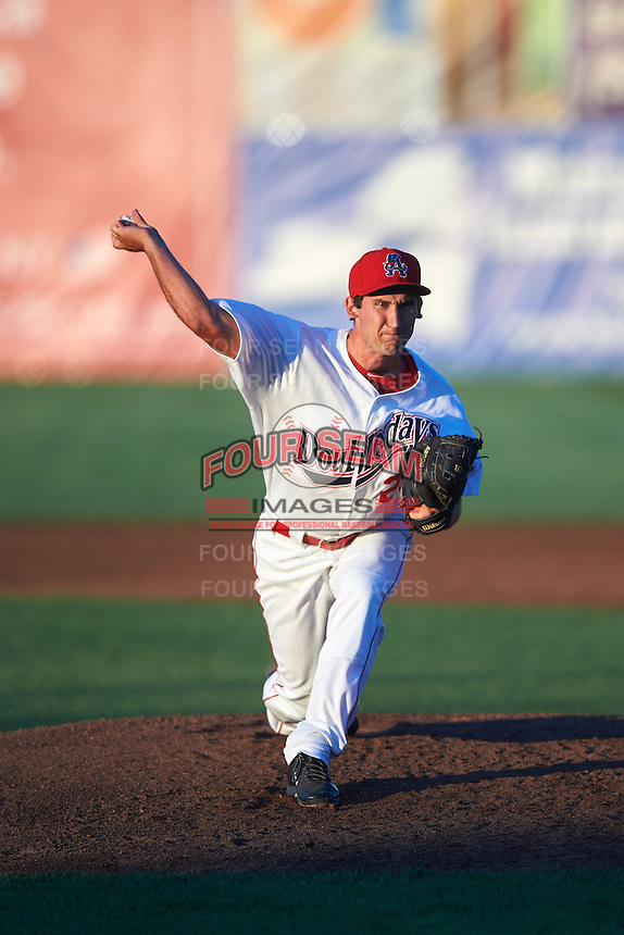 Auburn Doubledays relief pitcher Russell Harmening (29) during a game against the Mahoning Valley Scrappers on July 19, 2016 at Falcon Park in Auburn, New York.  Mahoning Valley defeated Auburn 9-1.  (Mike Janes/Four Seam Images)