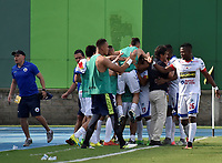 BARRANCABERMEJA - COLOMBIA, 16-08-2017:  Jugadores de Deportivo Pasto celebran un gol anotado a Alianza Petrolera durante partido fecha 8 de la Liga Aguila II 2017 disputado en el estadio Daniel Villa Zapata de la ciudad de Barrancabermeja. / Players of Deportivo Pasto celebrate after scoring a goal to Alianza Petrolera during match for the date 8 of the Aguila League II 2017 played at Daniel Villa Zapata stadium in Barrancebermeja city. Photo: VizzorImage / Jose Martinez / Cont