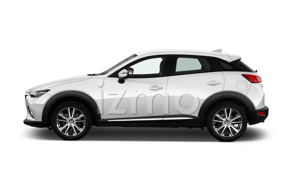 Car Driver side profile view of a 2017 Mazda CX-3 Grand-Touring 5 Door SUV Side View