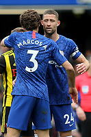 Chelsea's Gary Cahill embraces Marcos Alonso at the final whistle during Chelsea vs Watford, Premier League Football at Stamford Bridge on 5th May 2019