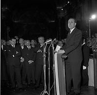 Le 2 et 3 février 1962. Vue de Michel Debré, en conference de presse dans une salle du Capitole.