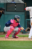 New Hampshire Fisher Cats catcher Max Pentecost (7) waits to receive a pitch during the second game of a doubleheader against the Harrisburg Senators on May 13, 2018 at FNB Field in Harrisburg, Pennsylvania.  Harrisburg defeated New Hampshire 2-1.  (Mike Janes/Four Seam Images)