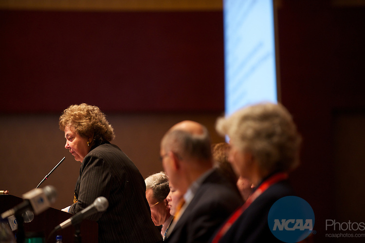 13 JAN 2011: The Division III  Issues Forum inside the Grand Hyatt during the annual NCAA Convention held in San Antonio,TX. .Pictured: Judy Douglas.(Joshua Duplechian/NCAA Photos).