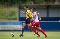 Natalie Murray of Watford Ladies & Dom Godbeer of Stevenage Ladies during the pre season friendly match between Stevenage Ladies FC and Watford Ladies at The County Ground, Letchworth Garden City, England on 16 July 2017. Photo by Andy Rowland / PRiME Media Images.