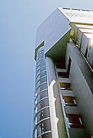 Osaka: Sony Tower--looking up. Kisho Kurakowa. Photo '82.