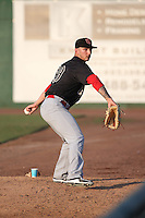 Will Locante (29) of the Visalia Rawhide throws in the bullpen during a game against the Inland Empire 66ers at San Manuel Stadium on June 26, 2016 in San Bernardino, California. Inland Empire defeated Visalia, 5-1. (Larry Goren/Four Seam Images)