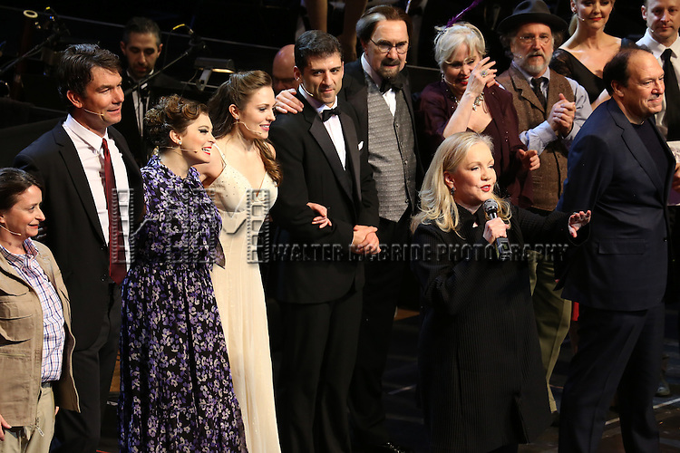 """Susan Stroman with  Jack McBrayer, Rachel Dratch, Jerry O'Connell, Rachel Bloom, Laura Osnes, Tony Yazbeck, Harry Groener, Nancy Opel, Mark Linn-Baker with cast during the Manhattan Concert Productions 25th Anniversary concert performance of """"Crazy for You"""" at David Geffen Hall, Lincoln Center on February 19, 2017 in New York City."""