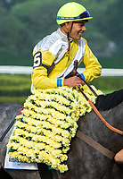 ELMONT, NY - JUNE 10: Jose Ortiz, aboard Ascend #5, after winning the Woodford Reserve Manhattan Stakes on Belmont Stakes Day at Belmont Park on June 10, 2017 in Elmont, New York (Photo by Sue Kawczynski/Eclipse Sportswire/Getty Images)