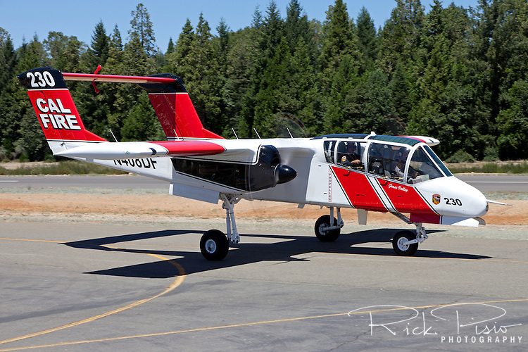Cal Fire OV-10 Bronco taxis at the Nevada County Air Attack Base prior to a firefighting mission. The California Department of Forestry and Fire Protection utilizes the OV-10 Bronco as a lead-in aircraft for the air tankers as well as an aerial platform from which the entire air operation is coordinated. The CAL FIRE Broncos fly with a crew of two, a pilot and the Air Attack Officer, whose job it is to coordinate all aerial assets on a fire with the Incident Commander on the ground.