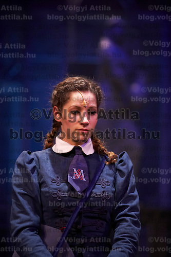 Actress Bernadett Vago performs in the role of Georgina Vitay on stage during a dress rehearsal of the new musical piece by Hungary's Operette Theatre based on a novel titled matching the novel Abigel by famous Hungarian writer Magda Szabo. Budapest, Hungary. Wendesday, 21. March. 2008. ATTILA VOLGYI