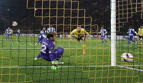18.02.2016. Dortmund, Germany.  UEFA Europa League match at the Signal Iduna Park. Borussia Dortmund versus FC Porto.  Lukasz Piszczek Borussia Dortmund scores against Goalkeeper Iker Casillas FC Porto