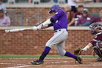 LSU Tigers first baseman Mason Katz (8) swings the bat against the Texas A&M Aggies in the NCAA Southeastern Conference baseball game on May 10, 2013 at Blue Bell Park in College Station, Texas. LSU defeated Texas A&M 7-4. (Andrew Woolley/Four Seam Images).