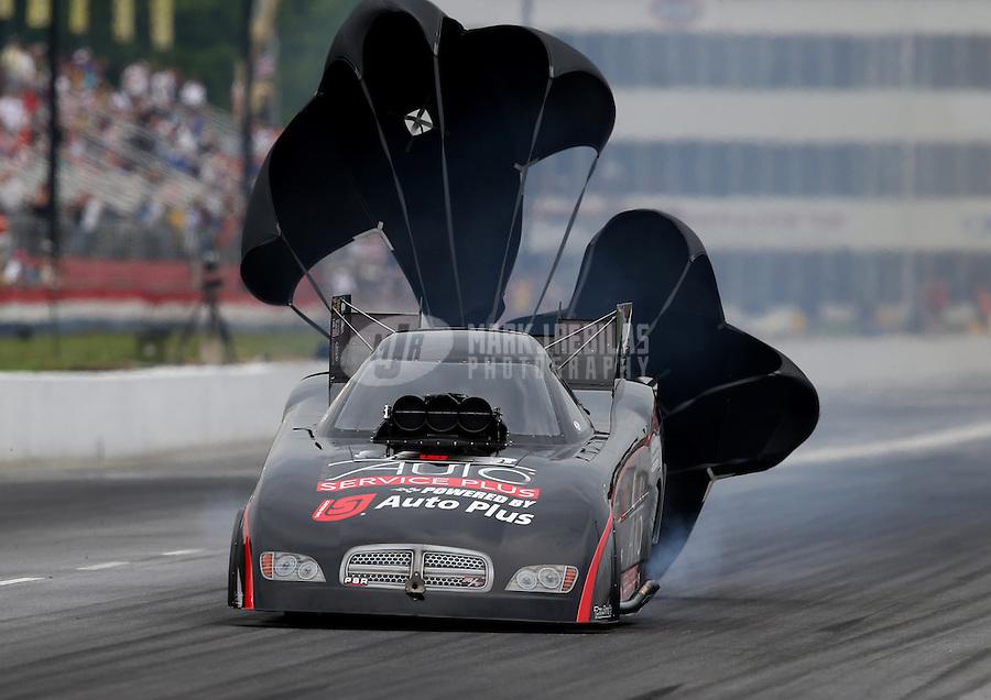 May 10, 2013; Commerce, GA, USA: NHRA funny car driver Blake Alexander during qualifying for the Southern Nationals at Atlanta Dragway. Mandatory Credit: Mark J. Rebilas-