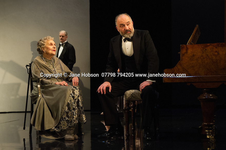 WASTE, by Harley Granville Barker, directed by Roger Michell, opens at the National Theatre. Picture shows: Doreen Mantle (Countess Mortimer), William Chubb (George Farrant), Louis Hilyer (Russell Hilyer)
