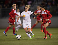 McCall Zerboni (7) of the Western NY Flash holds off Ali Krieger (11) of the Washington Spirit during the game at the Maryland SoccerPlex in Boyds, MD.  Washington tied Western NY, 1-1.