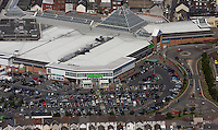 Aerial view of Asda super market and Llanelli town centre