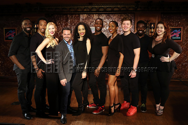 Kyle Taylor Parker, Dwayne Cooper, Emma Degerstedt, Joshua Bergasse, Nicole Vanessa Ortiz, Jelani Remy, Dionne D. Figgins, Max Sangerman, John Edwards and Alysha Umphrees attends the photo call for the new production of 'Smokey Joe's Cafe' at Feinstein's/54 Below on June 27, 2018 in New York City.