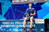 18th March 2018, Arena Birmingham, Birmingham, England; Yonex All England Open Badminton Championships; Shi Yuqi (CHN) laughs as he receives the winning trophy in the mens singles final against Lin Dan (CHN)