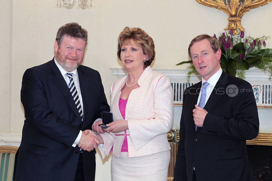 9/3/11 Dr James Reilly, Minister for Health with President Mary McAleese and Taoiseach Enda Kenny at Aras An Uachtarain for the appoinment of the Government. Pictures:Arthur Carron/Collins