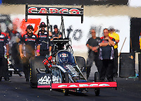 Oct 5, 2013; Mohnton, PA, USA; NHRA top fuel dragster driver Billy Torrence during qualifying for the Auto Plus Nationals at Maple Grove Raceway. Mandatory Credit: Mark J. Rebilas-